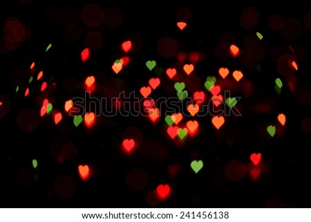 Bokeh of colorful hearts. Background on Valentines Day - stock photo