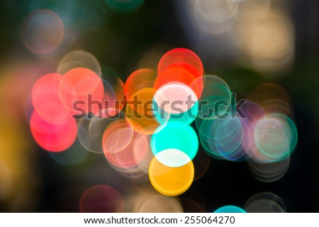 Bokeh of the color night light, blurred background - stock photo