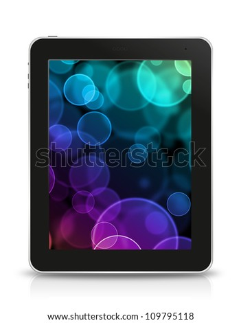 bokeh screen in tablet pc, isolated on background white - stock photo
