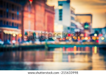 Bokeh seen at the Inner Harbor in Baltimore, Maryland. - stock photo
