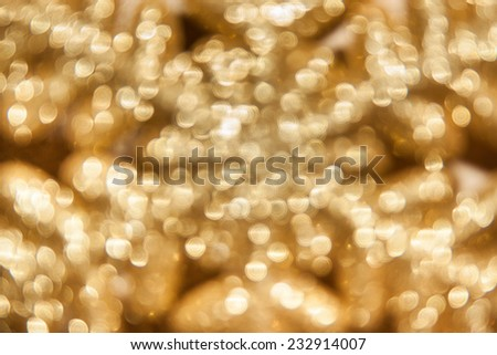bokeh snowflakes in gold tones with a beautiful sheen