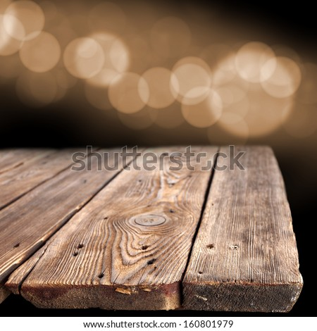 bokeh space old wooden table empty stock photo edit now 160801979