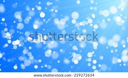 bokeh - white circles on blue background - stock photo