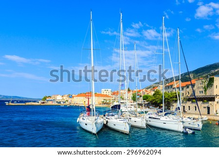 BOL, BRAC ISLAND, CROATIA - JULY 10: Port of Bol, Brac island of Croatia in Adriatic sea, Europe on July 10, 2015.