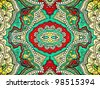 Bold, grungy, islamic, psychedelic, colorful ornament in pop art style. Good for abstract or oriental design. - stock photo