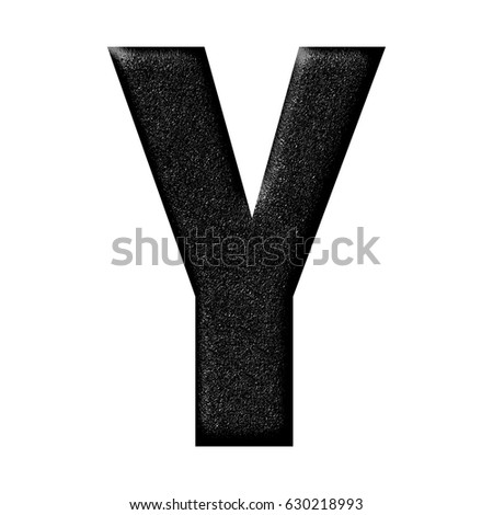 Bold style black rubber texture uppercase or capital letter Y with rough mottled textured effect isolated on a white background with clipping path.