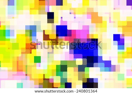 Bold varicolored mosaic of rounded squares, overlapping for illusion of three dimensions, with urban flair - stock photo