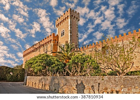 Bolgheri, Livorno, Tuscany, Italy: castle with tower in the village made famous by a poem of Giosuè Carducci