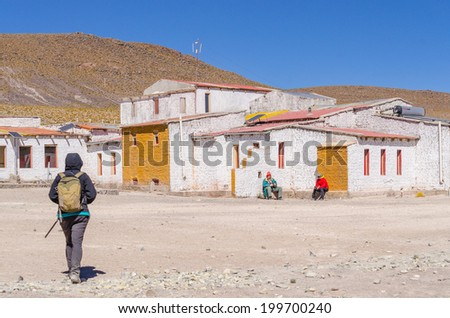 Bolivia, Antiplano - Lake Hedionda.- hotel - stock photo