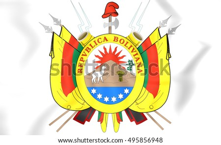 Bolivia Coat of Arms (1826). 3D Illustration.