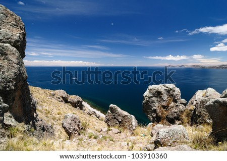 Bolivia - Copacabana city on the Titicaca lake, the largest highaltitude lake in the world (3808m). View on the Titicaca lake from Copacabana city - stock photo