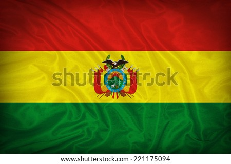 Bolivia flag pattern on the fabric texture ,vintage style - stock photo