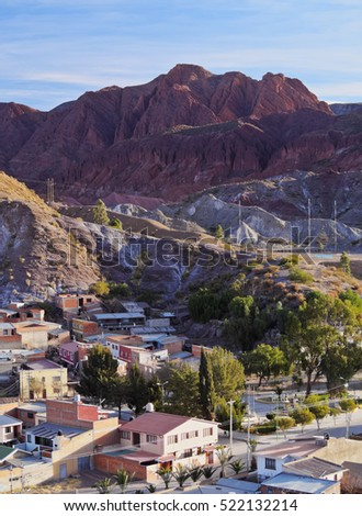 Bolivia, Potosi Department, Sud Chichas Province, Tupiza, Landscape of the mountains and the city of Tupiza viewed from the Mirador Corazon de Jesus.