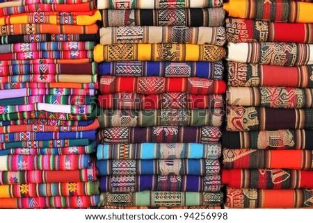 Bolivian (Andes region) traditional fabrics - stock photo