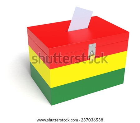 Bolivian Flag Ballot Box. Isolated white background. 3D Rendering. - stock photo