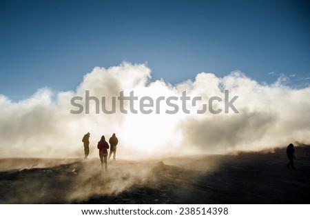 Bolivian's geyser - stock photo