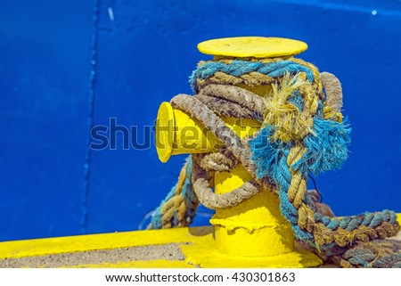 bollard with mooring line of a trawler