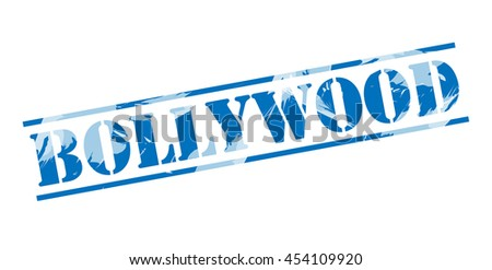 bollywood blue stamp on white background - stock photo