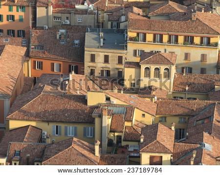 Bologna - bird's eye view of the city centre - stock photo