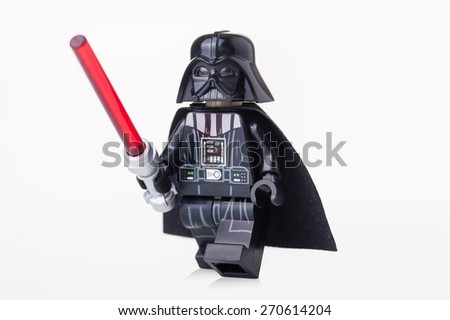 BOLOGNA, ITALY - APRIL 18, 2015: Darth Vader from Star Wars Lego movie series. Lego is a popular line of construction toys popular with kids and collectors worldwide. - stock photo
