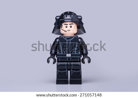 BOLOGNA, ITALY - APRIL 18, 2015: Star Wars Lego Imperial soldier from movie series. Lego is a popular line of construction toys popular with kids and collectors worldwide. - stock photo