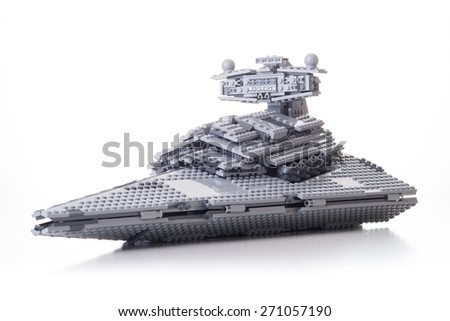 BOLOGNA, ITALY - APRIL 18, 2015: Star Wars Lego ship from movie series. Lego is a popular line of construction toys popular with kids and collectors worldwide. - stock photo