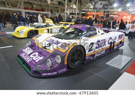 BOLOGNA, ITALY - DECEMBER 8: Bologna Motor Show on December 08, 2010 in Bologna, showing Jaguar XJR-9 LM 1988 Le Mans - stock photo