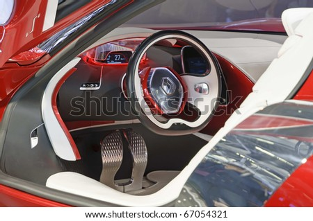 BOLOGNA, ITALY - DECEMBER 08: Bologna Motor Show on December 08, 2010 in Bologna, showing Renault Dezir Concept cockpit - stock photo