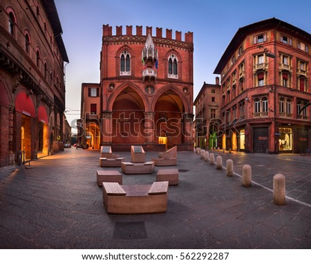 BOLOGNA, ITALY - DECEMBER 30, 2016: Palazzo della Mercanzia in Bologna, Italy. Palazzo della Mercanzia has governed trading and business activities of Bologna since the late 14th century.