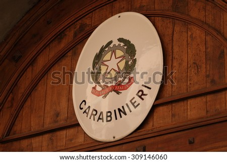 BOLOGNA, ITALY - JULY 17, 2015: Carabinieri sign on the wall. The carabinieri is the national military police of Italy, policing both military and civilian populations. - stock photo
