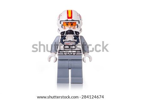 BOLOGNA, ITALY - JUNE 2, 2015: Studio shot of a Star Wars Lego Starfighter pilot minifigure from movie series. Lego is a popular line of construction toys popular with kids and collectors worldwide. - stock photo