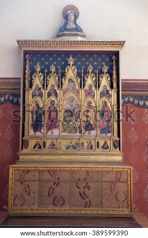 BOLOGNA, ITALY - JUNE 04: Virgin Mary with baby Jesus and saints, altar in San Petronio Basilica in Bologna, Italy, on June 04, 2015