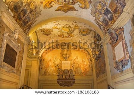 BOLOGNA, ITALY - MARCH 15, 2014: Ceiling and walls of external atrium of Archiginnasio.  - stock photo