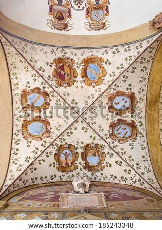 BOLOGNA, ITALY - MARCH 15, 2014: Ceilinig fresco in external atrium of Archiginnasio  - stock photo