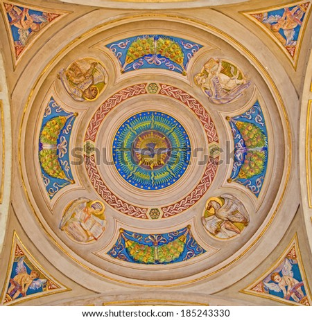 BOLOGNA, ITALY - MARCH 15, 2014: Cupola of side chapel in Dom - Saint Peters baroque church with the symbols of four Evangelist.