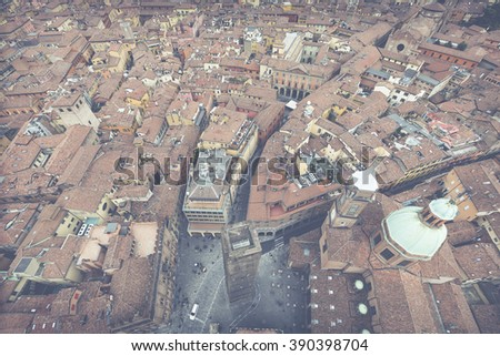 BOLOGNA, ITALY - 05 MARCH, 2016: General view of the downtown streets. Bologna is the largest city (and the capital) of the Emilia-Romagna Region in Italy.