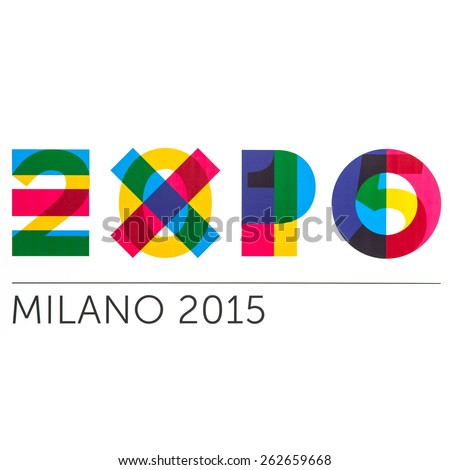BOLOGNA, ITALY - MARCH 22, 2015: Milan Expo logo sign. As seen printed on advertisement display. - stock photo