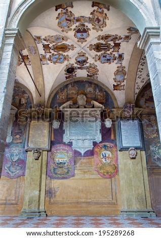 BOLOGNA, ITALY - MARCH 15, 2014: Porcicos and atrium from the entry to external atrium of Archiginnasio.  - stock photo