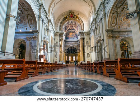 BOLOGNA, ITALY - MARCH 12, 2015: Presbytery and nave of Dom or Saint Peters baroque church.