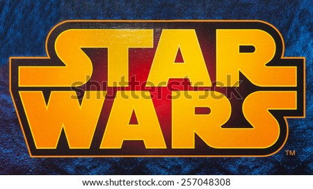 BOLOGNA, ITALY - MARCH 1, 2015: Star Wars logo printed on Lego box from movie series. Lego is a popular line of construction toys popular with kids and collectors worldwide. - stock photo
