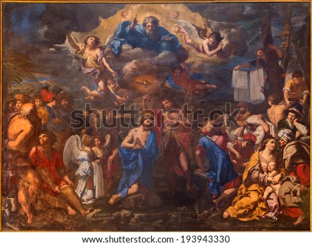 BOLOGNA, ITALY - MARCH 17, 2014: The Baptism of Christ by Elisabetta Sirani from year 1658 in baroque church San Girolamo della certosa.