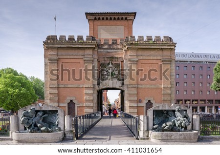Bologna, Italy - May 2, 2015 : People near the ancient gate Galliera (Porta Galliera) Bologna, Italy