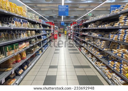 BOLOGNA, ITALY - NOVEMBER 27, 2014: Coop Supermarket interior view. Coop is the main actor on the Italian market by supermarket chains. - stock photo