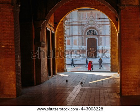 BOLOGNA, ITALY - NOVEMBER 27 2015:Town Scene from the city center of Bologna in the north of Italy, Europe on a cold November Day