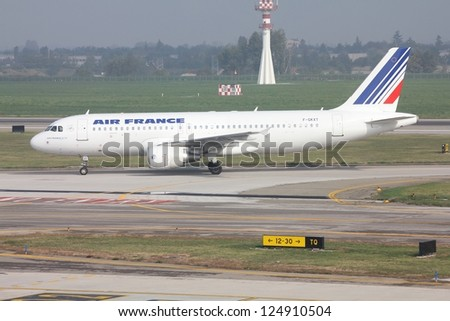 BOLOGNA, ITALY - OCTOBER 16: Air France aircraft taxies on October 16, 2010 at Bologna Airport, Italy. Air France - KLM carried 77.5 million passengers in 2012, becoming 3rd largest airline in Europe. - stock photo