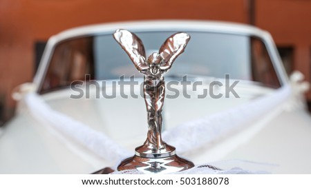 BOLOGNA, ITALY - OCTOBER 15, 2016: Spirit of Ecstasy of Rolls-Royce Phantom V. The Rolls-Royce Phantom V is a large, ultra-exclusive four-door saloon produced by Rolls-Royce Limited from 1959 to 1968.