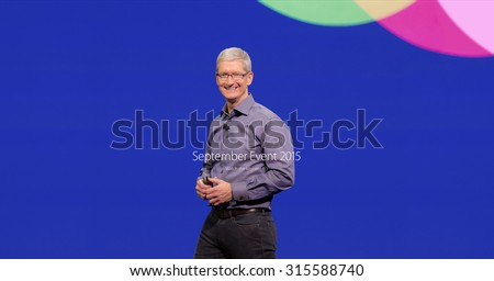 Bologna, Italy - September 10, 2015: Apple CEO Tim Cook. Screen appeared on the website of Apple after the keynote. - stock photo
