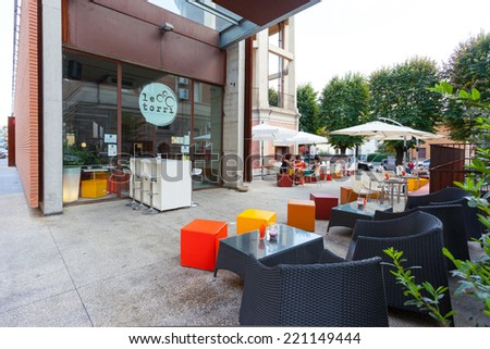 BOLOGNA, ITALY - SEPTEMBER 16, 2014:Be Towers bar in Budrio, Bologna, Italy. This is the most famous bar in Budrio and young people come from all over the city to its parties. - stock photo