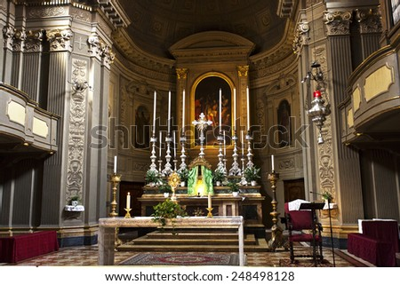 BOLOGNA, ITALY - SEPTEMBER 5, 2014: Detail of the interior of the church of San Benedetto in Bologna, Italy. - stock photo