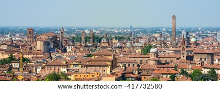 Bologna tour aerial view sightsee emilia romagna panorama - stock photo